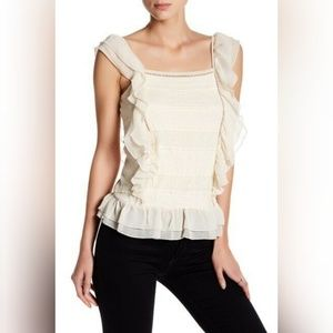 NWT Romeo and Juliet Couture Woven Lace Ruffle Top